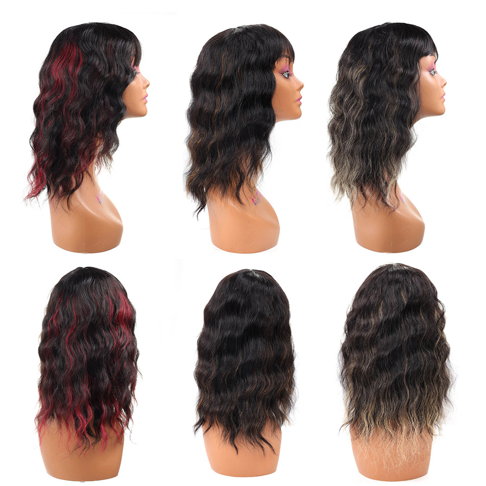 BHF Human Hair Wig With Bangs Full Machine Remy Brazilian wavy Fringe wig 100% Human Hair Extensions