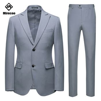 Mirecoo Blazers Jacket Man Suit 2 Button Fashion Casual Slim Fit Wedding Suit For Men Business Suits Pants Set Autumn Spring