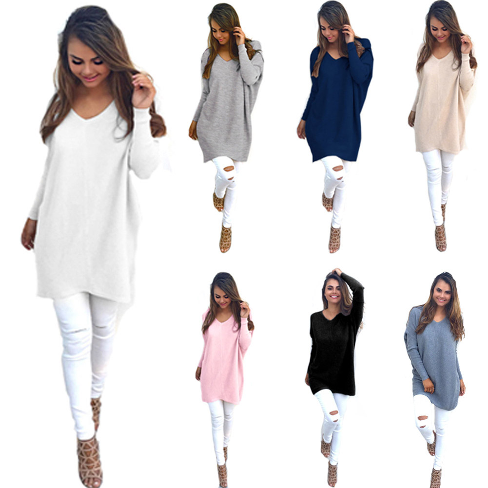 2019 Basic V-neck Solid Autumn Winter Sweater Pullover Women Female Knitted Long Sleeve  Sweater Loose LongTop Sleeves S женский