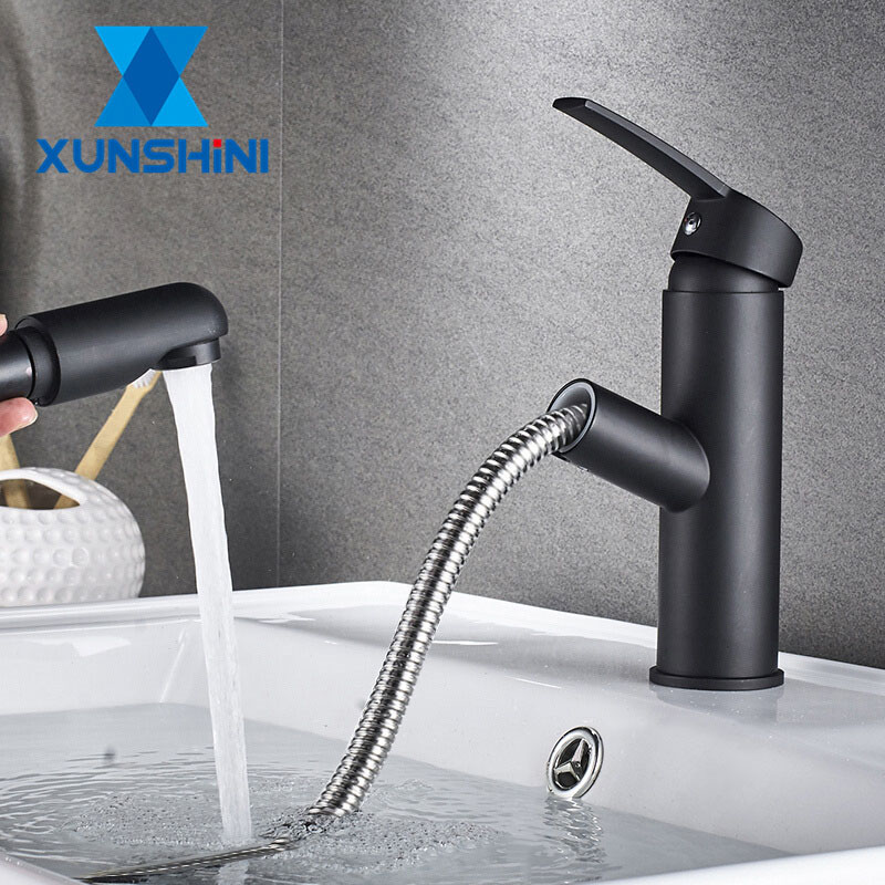 XUNSHINI Bathroom Kitchen Basin Faucet Single Handle Pull Out Spray Sink Tap Hot And Cold Water XUNSHINI Bathroom Kitchen Basin Faucet Single Handle Pull Out Spray Sink Tap Hot And Cold Water Crane Deck Mount Faucets