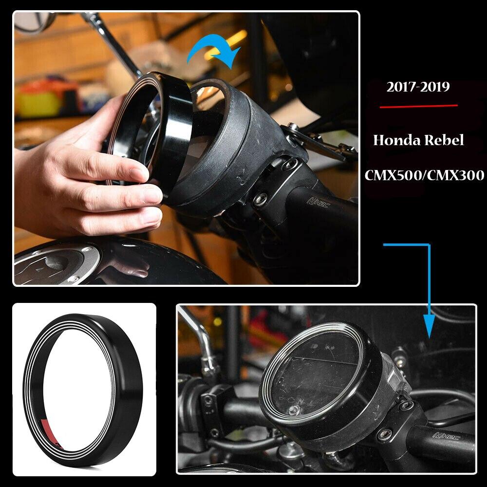 CMX500 CMX300 Motorcycle CNC Aluminum Dashboard Speedometer Instrument Gauge Speedo Meter Odometer Shell Ring Cover for 2017 2018 2019 2020 Honda Rebel CMX 300 500 Accessories 17-20 Black
