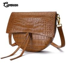 Brand Luxury Crocodile Leather Bag For Women 2019 Genuine Leather Saddle Bags Wome Handbags Vintage Shoulder Bag Messenger Bag