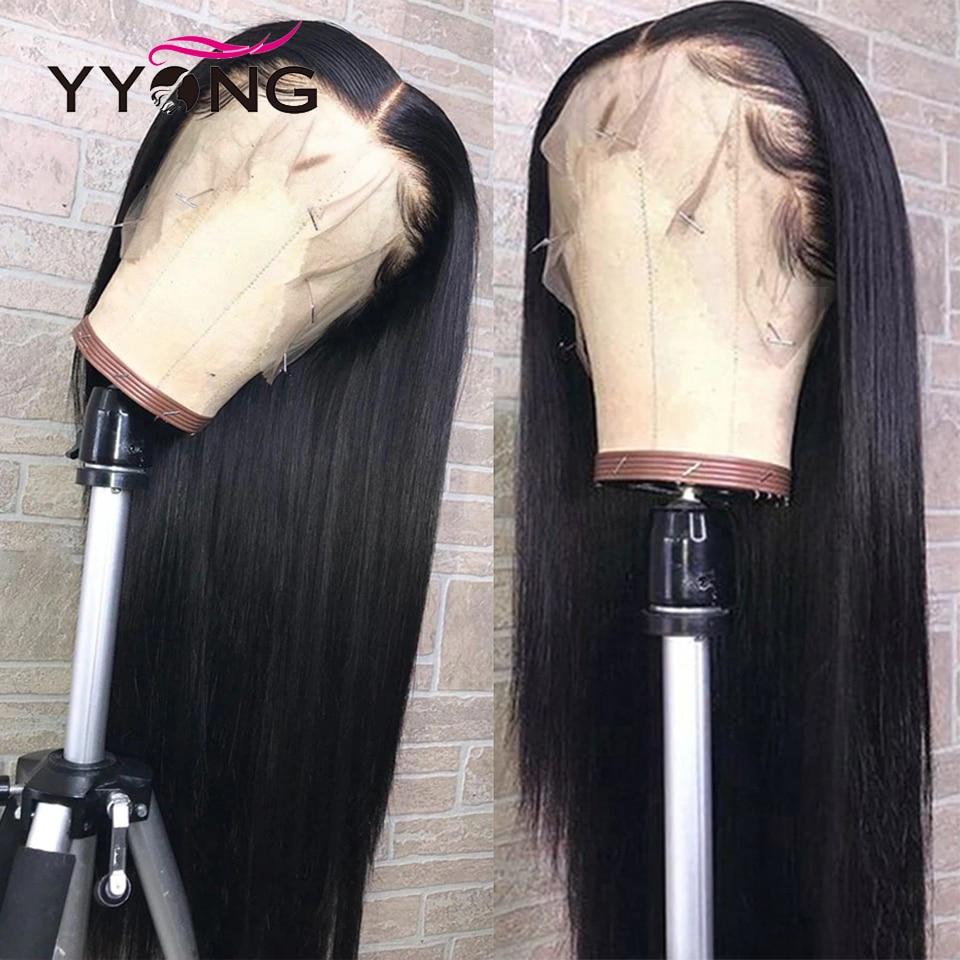 Yyong indiano hd peruca dianteira do laço transparente remy em linha reta 13x4 frente do laço perucas de cabelo humano com preplucked natural mais longo