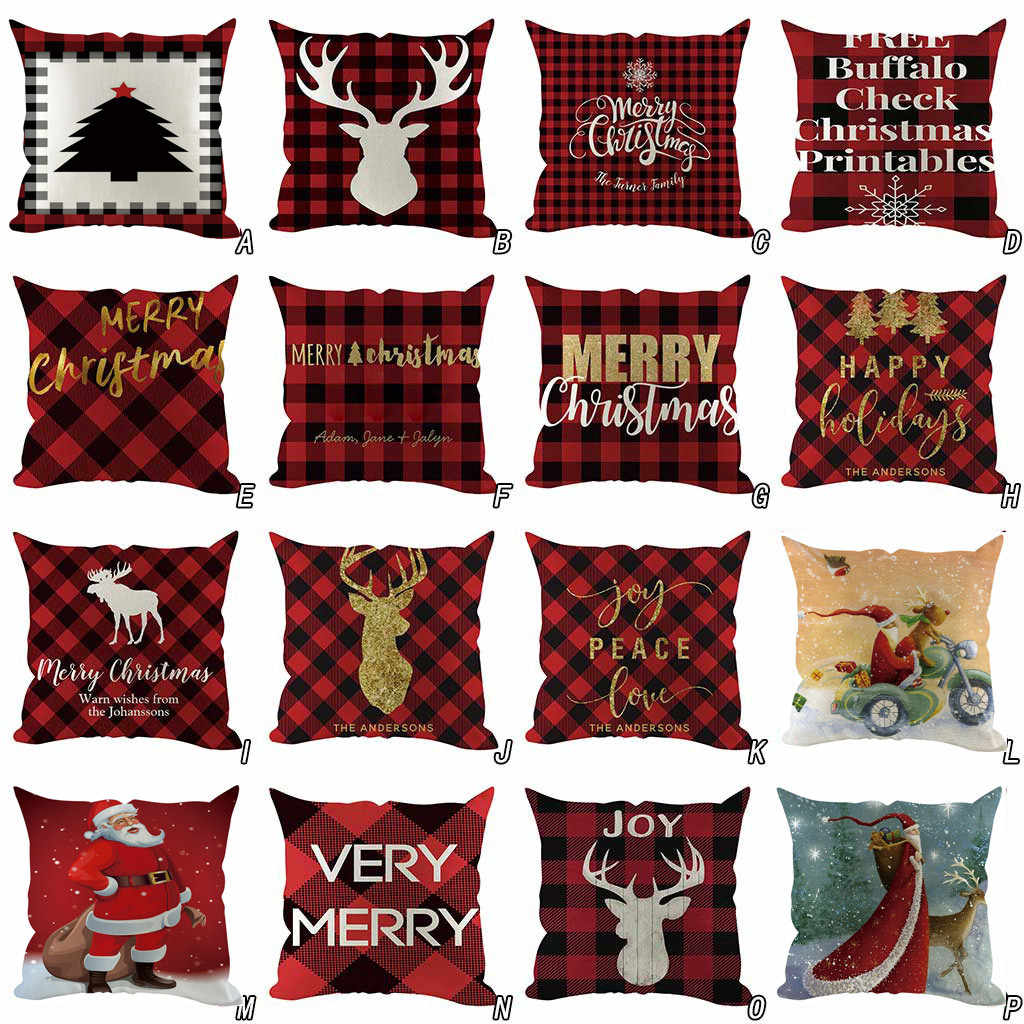 2019 Christmas Pillow Cover Decorative Sofa Cushion Cover Home Decoration Pillowcases Housse de Coussin Pillow Case Funda Cojin