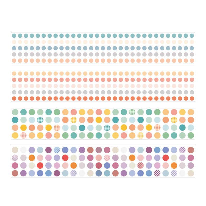 Cinta Washi de colores de la Serie Mundial, cinta adhesiva transparente con puntos coloridos para mascotas, cinta adhesiva DIY para álbum de recortes, artículos de papelería con etiquetas, cinta adhesiva