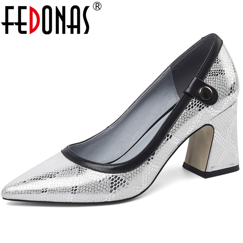 FEDONAS  Women Pumps Snake Pattern Cow Leather Slip On High Heeled Spring Summer Prom Shoes Working Elegant Shoes Woman