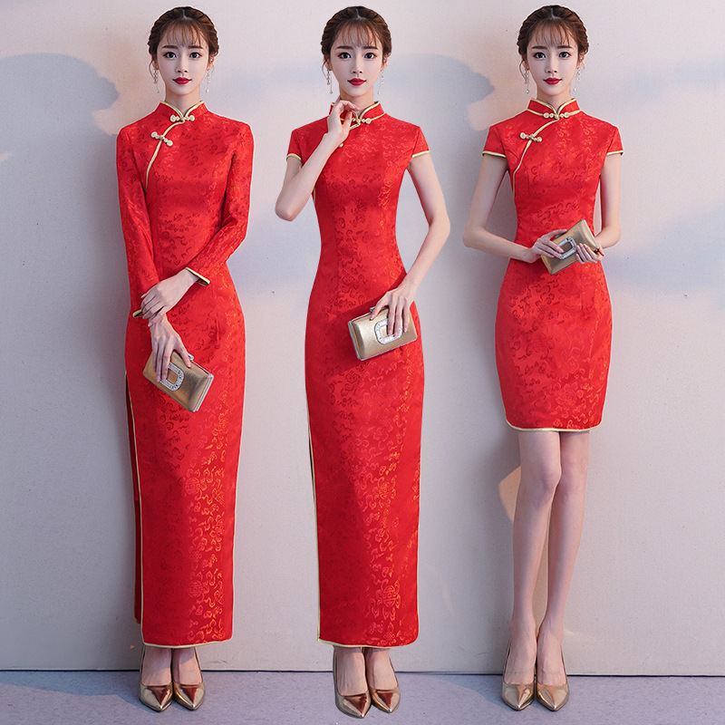 Women Red Long Chinese Traditional Dress Lady Elegance Short Sleeve Cheongsam Hotel Restaurant Staff Qipao Wedding Party Dress