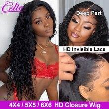 Парик Celie 5x5 6X6 HD на сетке, прозрачные кружевные искусственные волосы с водяной волной, с застежкой 4x4, передний парик на сетке