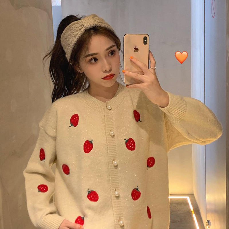 1 ~ Liangsi Shiny Strawberry Embroidered Cardigan Sweater Coat Women's Fashion