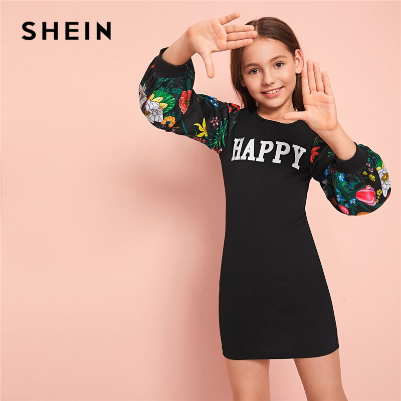 SHEIN Kiddie Girls Letter Graphic Floral Print Casual Tee Dress Kids Spring Bishop Sleeve Button Back Cute Pencil Short Dresses