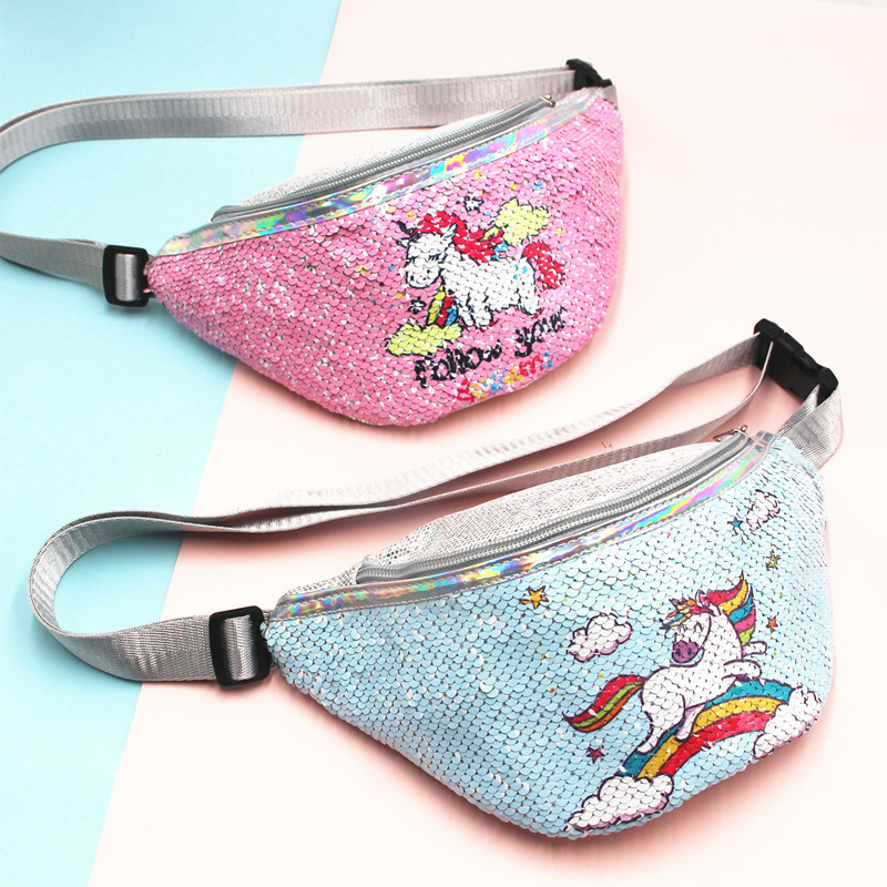 Sequins Unicorn Women Child Fanny Packs Fashionable Sports Travel Money Phone Waist Bag Holographic Purse Chest Bag Xmas Gift