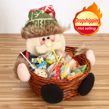 Hot Merry Christmas Candy Wicker Basket Christmas Decorations Elk Snowman Santa Claus Fruit Basket Food Holder Home Decor