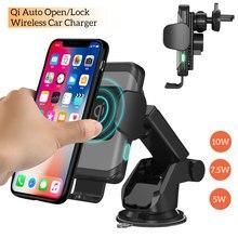 Cargador de coche inalámbrico Qi de 10W, cargador inalámbrico automático para coche, carga inalámbrica rápida, sujeción automática, soporte para teléfono de coche para iPhone Xs