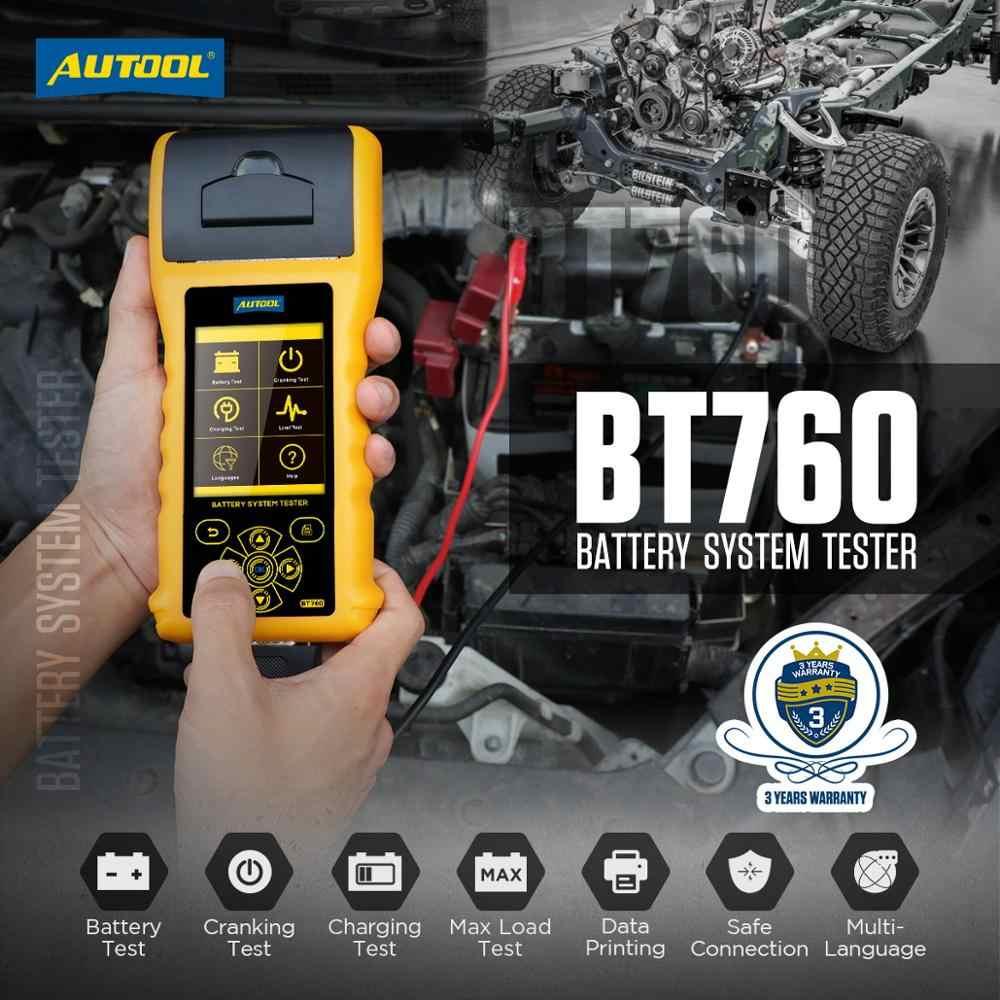 BT-760 Tester per sistemi di batterie per autoveicoli Analizzatore di batterie per Auto 6-32V per Veicoli Motocicli per autocarri Pesanti con Carta per Stampante AUTOOL