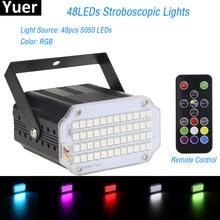 2021 alta qualtiy 48leds smd 5050 led luz estroboscópica girando voz ativado led luzes do palco festa discoteca stroboscope lâmpada