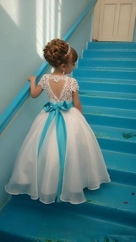 Backless 2019   Flower     Girl     Dresses   For Weddings Ball Gown Cap Sleeves Chiffon Lace Bow Long First Communion   Dresses   Little   Girl
