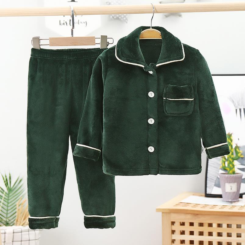 New Winter Children Fleece Pajamas Thicken Warm Flannel Sleepwear Girls Loungewear Coral Fleece Kids Pyjamas Boy Homewear Suit 2