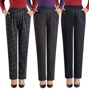 Large Size 2019 Spring Winter Middle-aged Women Grid Pants Warm Velvet Elastic Waist Casual Straight Pants Female Trousers W1516