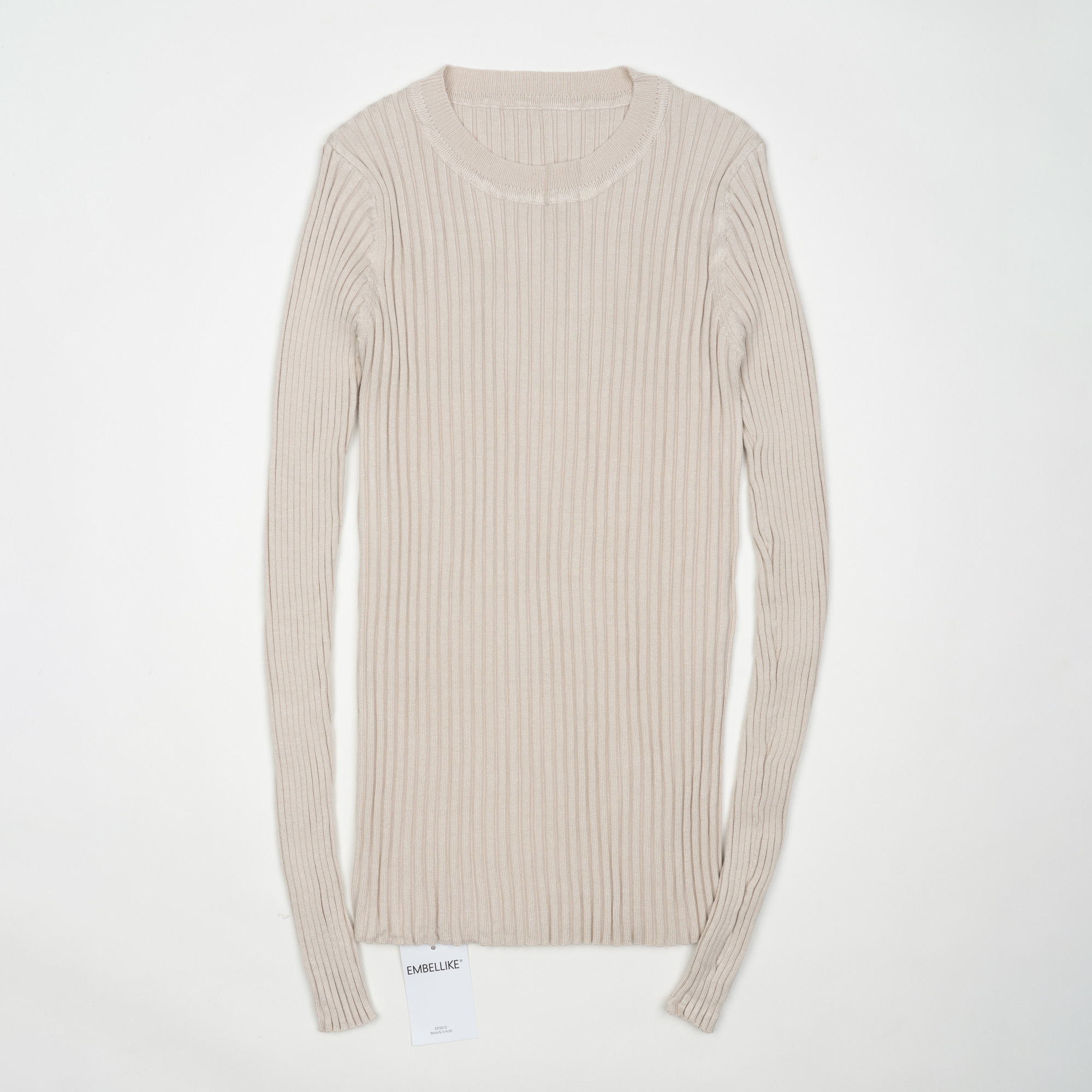 Women Sweater Pullover Basic Ribbed Sweaters Cotton Tops Knitted Solid Crew Neck With Thumb Hole 28