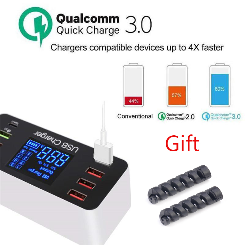 8 Port Multi Fast USB Charger 3.0 Multiple USB Phone Charging Station Universal USB HUB Charger QC 3.0 LED Display Free Gift