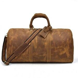 Skórzana torba podróżna dla mężczyzn skórzana torba z prawdziwej skóry bydlęcej pojemna torba podróżna na jedno ramię