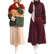 Long-Skirts Bottoms Muslim Islamic Fashion Arab Swing Pleated A-Line Faux Suede Loose