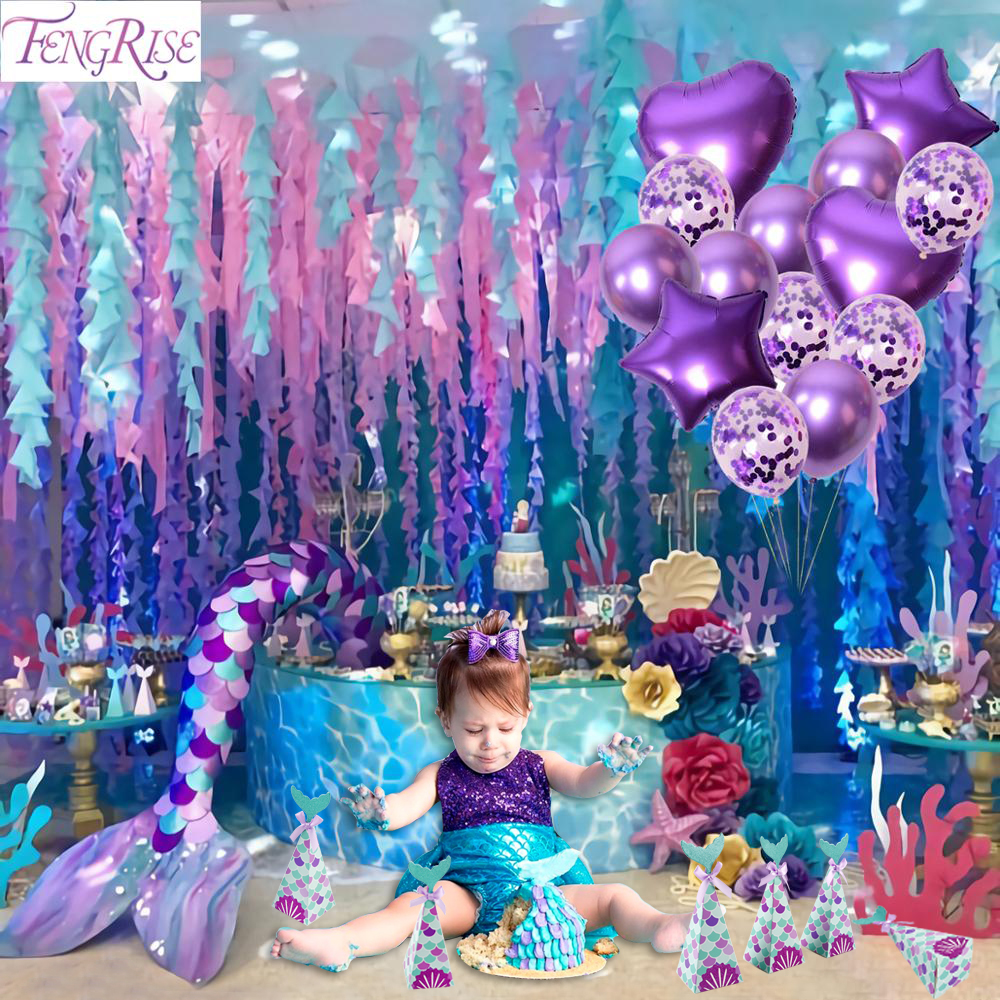 Happy Birthday Banner Baby 1st Birthday Banner Kids Birthday Party Decorations Baby Shower Little Mermaid Party Decor I Am One Banners Streamers Confetti Aliexpress