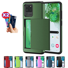 Armor Slide Card Case For Samsung Galaxy S21 Note 20 Ultra S20 Fe S10 PLus Card Slot Holder Cover Candy Color Shockproof Shell