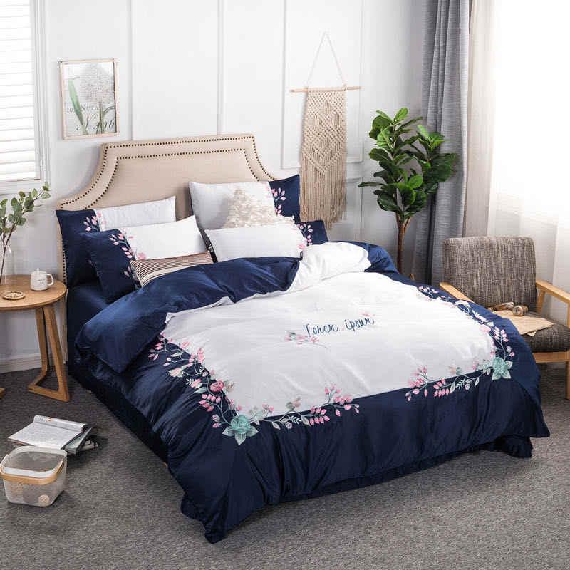 الأميرة الرياح السرير أربع قطع القطن لطيف فتاة التطريز زهرة لحاف من القطن غطاء السرير طقم سرير الملكة الفاخرة الفراش