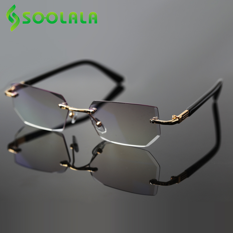 SOOLALA Anti Blue Light Diamond Cutting Rimless Reading Glasses Men With Cases Presbyopic Glasses For Reading +1.0 To 4.0