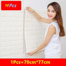 10 Pcs Pe Foam 3D Wallpaper Diy Muur Stickers Muur Decor Reliëf Baksteen Steen Behang Kids Slaapkamer Woonkamer Huis poster(China)
