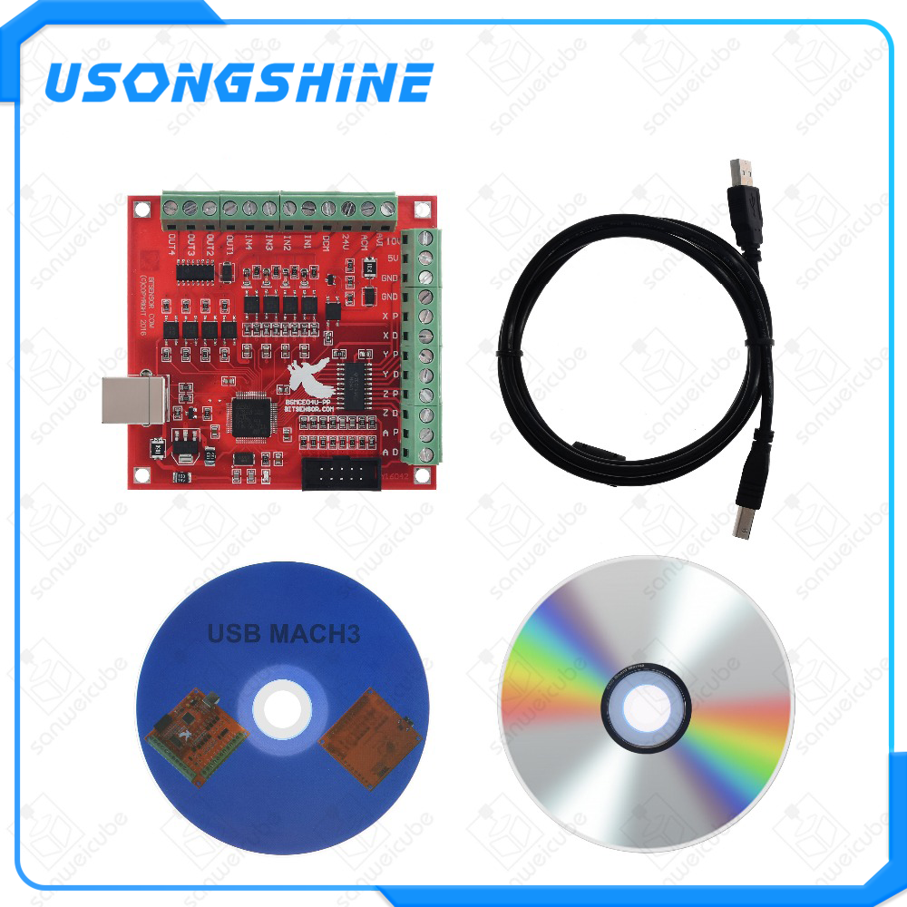 1pcs CNC USB MACH3 100Khz Breakout Board 4 Axis Interface Driver Motion Controller CNC USB MACH3 100Khz Breakout Board 4 Axis In