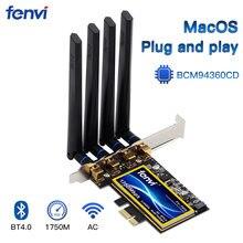 Адаптер Fenvi T919 BCM94360CD PCIe, 1750 Мбит/с, Wi-Fi карта MacOS Hackintosh Airdrop Handoff 802.11ac, двухдиапазонный 2,4G/5 ГГц, Bluetooth4.0