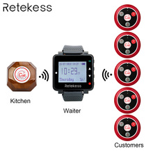 Retekess Wireless Calling System Waiter Call Pager + T128 Watch Receiver + T117 Four-key Transmitter Button Restaurant Pager wirelss button calling system nurse call number buzzer watch pager 1pc transmitter 5 pcs call button receiver waterproof