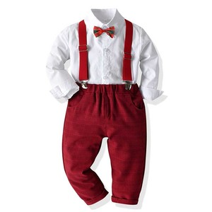 Boy Clothing Set Dress Suit Gentleman White Shirt with Bow tie +Red Pants Party wedding Handsome Kid Clothing For Boys Clothes