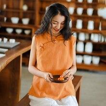 Johnature Stand Vintage chemises sans manches couleur unie coton 2020 nouveau été Style chinois femmes 5 couleur dessus de chemise