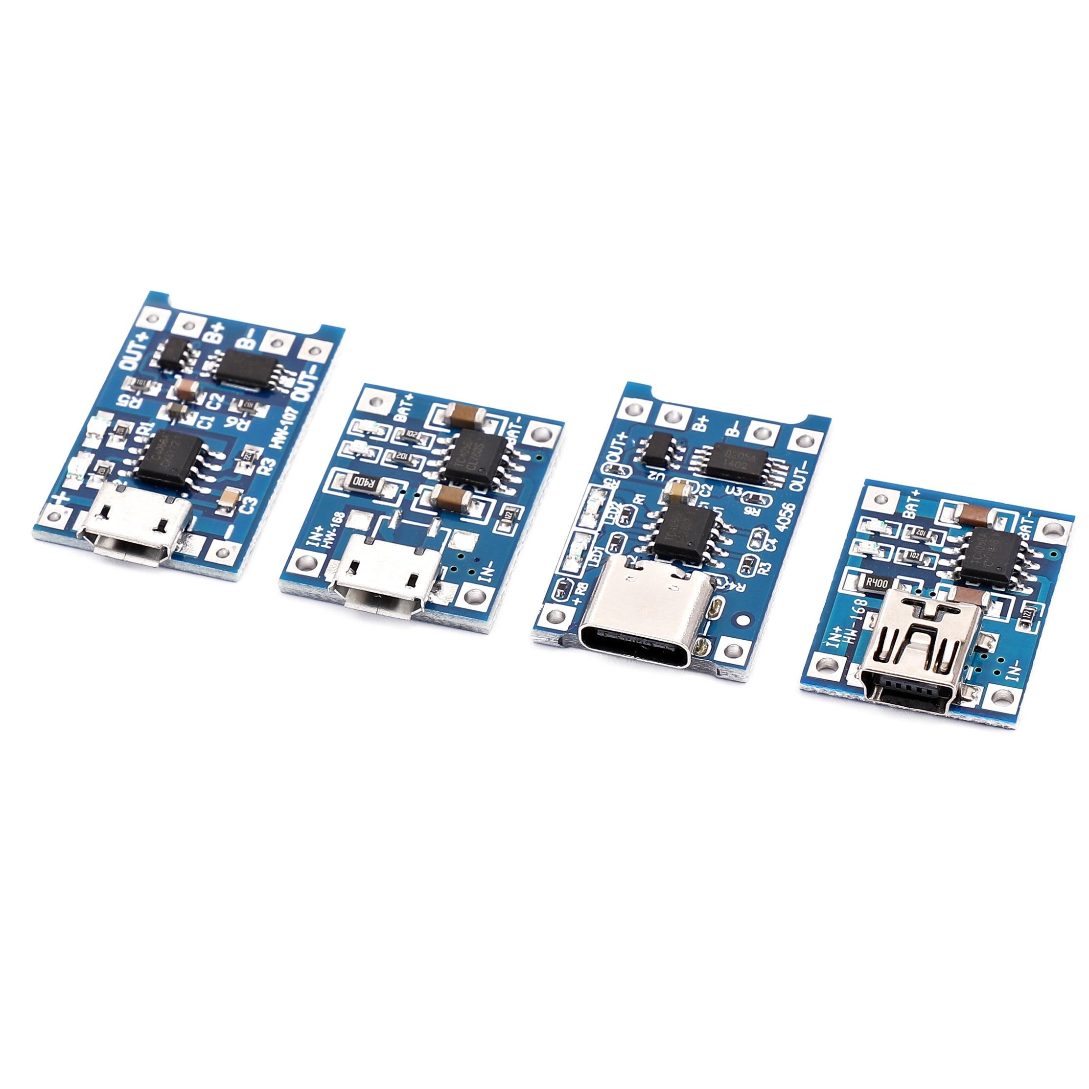 Зарядная плата TP4056 18650, 5 В, 1 А, Micro USB 18650, type-c, литиевая батарея, модуль зарядного устройства + Двойная функция защиты