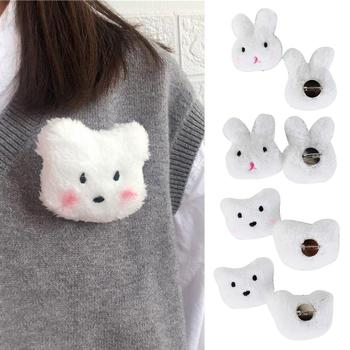 Lovely Rabbit Bear Plush Doll Brooch Pin Bag Decoration Jacket Lapel Accessory match well with your windbreaker sweater cardigan image