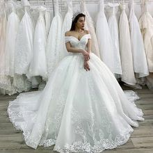 Luxury Beaded Princess Wedding Dress 2021 Lace Appliques Lace up Ball Gown Illusion Bridal Customized Vestido de Noiva