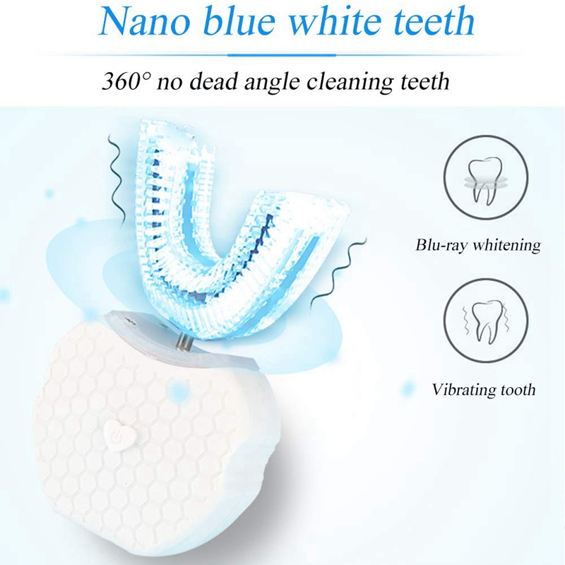 Full-Automatic Variable-Frequency Electric Toothbrush,360 degree Ultrasonic U Type Cold Light Teeth Whitening Toothbrush Mouth C