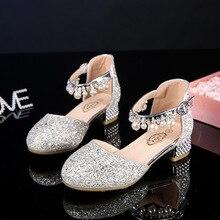 נסיכת נעלי עור ילדים עבור בנות פרח מזדמן נצנצים ילדי גבוהה העקב בנות נעליים ורוד כסף סנדלי ילדים