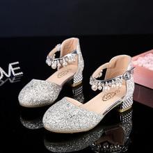 Księżniczka dzieci skórzane buty dla dziewczynek kwiat dorywczo brokat dzieci szpilki dziewczyny buty różowe srebrne sandały dzieci