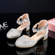Princess Kids Leather Shoes For Girls Flower Casual Glitter Children High Heel Girls Shoes  Pink Silver  sandals kids