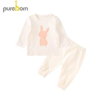 Pureborn 2 piezas dibujos animados elefante conejo Niño niña ropa primavera otoño niños ropa conjunto niños dormir y jugar