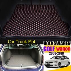 Кожаные Коврики для багажника автомобиля Volkswagen Golf Wagon 2008-2019, задний коврик для багажника, поднос, коврик, грязь
