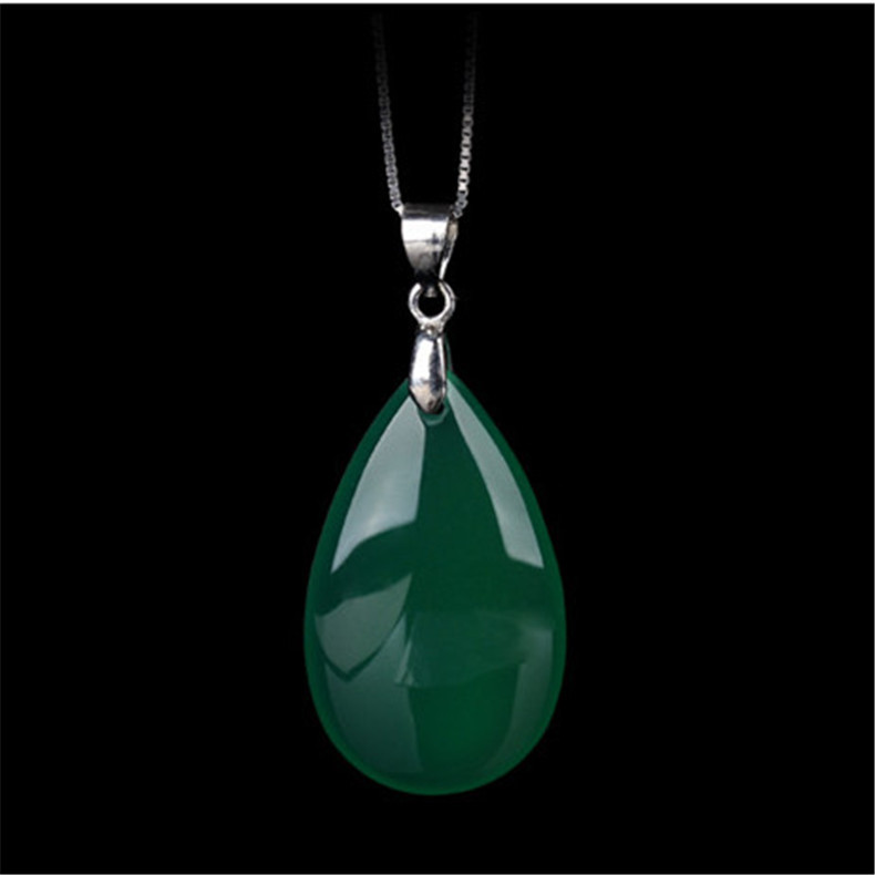 Natural White Green Agate Chalcedony Jade Water Drop Pendant Necklace Fashion Charm Jewelry Carved Amulet Luck Gifts Women Men