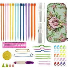 Jiwuo Knitting Needles Kit Beginner & Professional Sweater Crochet Hook Stick Needles Set With Case DIY Home Sewing Weaving Tool(China)