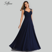 Elegant Women Dress A-Line V-Neck Sleeveless Ruched Simple Chiffon Maxi Ladies Cheap Evening Party Gowns Robe Femme 2019