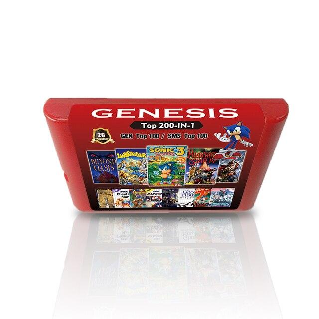 Placa de vídeo game 2g 200 em 1, para sega genesis md console 100 jogos top gen + 100 jogos mestre sistema superior