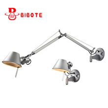 Modern Swing Long Arm Adjustable Flexible Wall Lights AC90-260V Silver Eye Protection Living Room Bedroom Bedside Wall Lamp retro bronze single swing arm wall lamp for bedroom bedside adjustable wall mount swing arm lamp